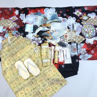七五三 5歳 五才 新品 羽織 袴 着物セット 柄刺繍 紋袴 5才NO27243(和服/着物)