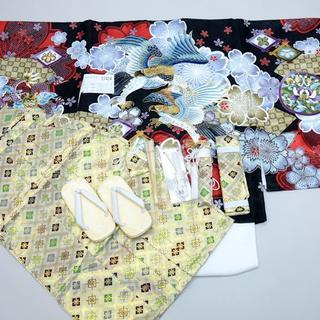 七五三 5歳 五才 新品 羽織 袴 着物セット 柄刺繍 NO27424 仕立込(和服/着物)