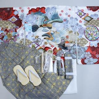 七五三 5歳 五才 新品 羽織 袴 着物セット 柄刺繍 紋袴 5才NO27253(和服/着物)