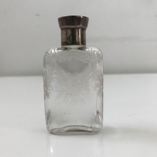 シルバートップのガラス瓶 フラスコ型【アンティーク】1923年製(金属工芸)