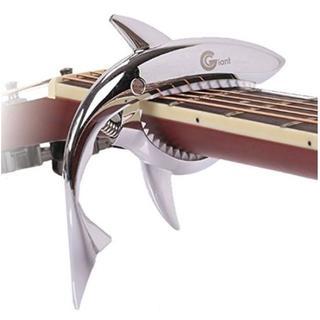 95Z/ギター用 カポタスト ワンタッチ サメ シャーク フォーク (シルバー)(その他)