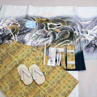 七五三 5歳 五才 新品 羽織 袴 着物セット 龍刺繍 紋袴 5才NO16817(和服/着物)