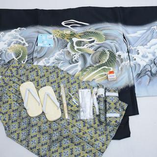 七五三 5歳 五才 新品 羽織 袴 着物セット 龍刺繍 紋袴 5才NO24356(和服/着物)