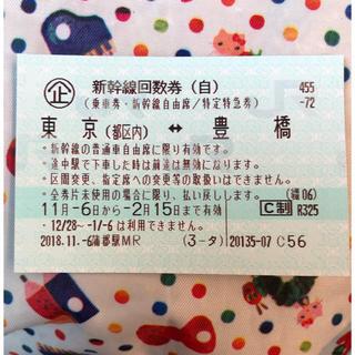 ジェイアール(JR)の新幹線自由席 豊橋-東京(鉄道乗車券)