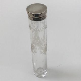 シルバートップのガラス瓶 ロング管【アンティーク】1923年製(金属工芸)