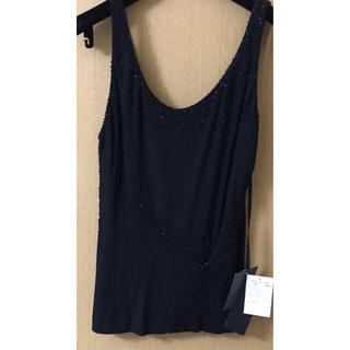 ダナキャラン(Donna Karan)の即購入🆗新品✨ダナキャラン¥110,000スパンコールビジューノースリーブ (カットソー(半袖/袖なし))
