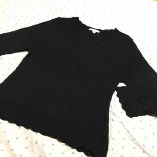 アーバンアウトフィッターズ(Urban Outfitters)のアメリカ製 インポート 七分袖 レース編み ニット サラッと素材(カットソー(長袖/七分))