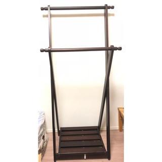 美品☆天然木 ハンガーラック 2段式(押し入れ収納/ハンガー)