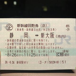 ジェイアール(JR)の新幹線 回数券(鉄道乗車券)