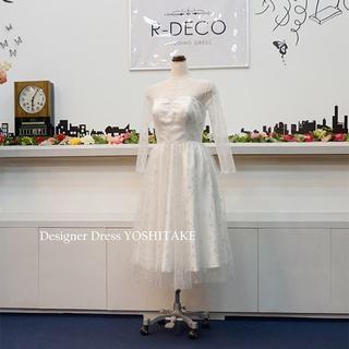 ウエディングドレス キラキラシルバースターチュール/ミモレ丈 二次会用ドレス(ウェディングドレス)