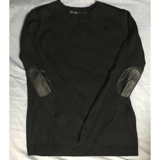 ノーアイディー(NO ID.)のNO  ID.  羊革肘当てニット  美品(ニット/セーター)