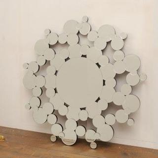 【デコラティブミラー】 壁掛け鏡 ウォールミラー ミラー(水玉)(壁掛けミラー)