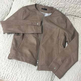 シマムラ(しまむら)のフェイクレザーノーカラージャケット(ノーカラージャケット)