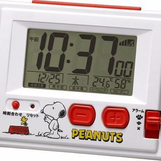 残り僅か!スヌーピー目覚まし電波時計(温度、湿度表示付)(置時計)