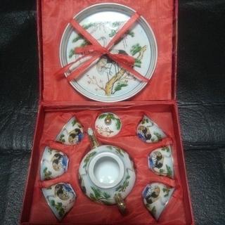 中国茶器セット   鶴(陶芸)