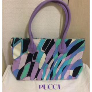 エミリオプッチ(EMILIO PUCCI)の本物エミリオプッチEMILIO PUCCIの幾何学的模様のトートバック 保存袋有(トートバッグ)