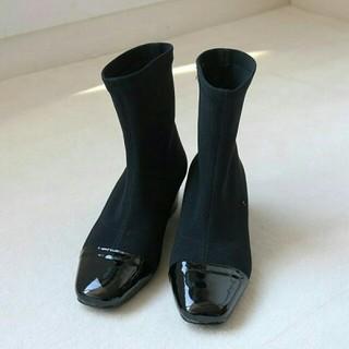トゥデイフル(TODAYFUL)の【新品】TODAYFULリブソックスブーツ37黒ショートブーツブーティー靴(ブーツ)