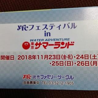11月23.24.25.26日 東京サマーランド 特別招待券 入園無料五名まで(プール)