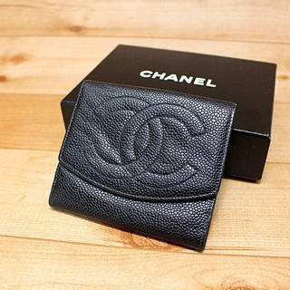 シャネル(CHANEL)の【良品】CHANEL キャビアスキン 折財布   (財布)