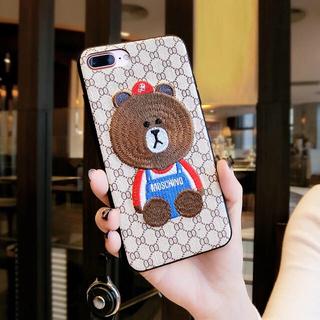 【iPhoneXケース】くま刺繍ケース*値下げ中!(iPhoneケース)