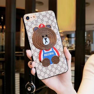 【iPhone7plus.iPhone8plusケース】くま刺繍ケース(iPhoneケース)