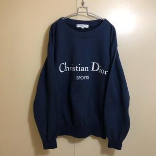 クリスチャンディオール(Christian Dior)の90s Christian dior 刺繍ロゴ スウェット ネイビー M(トレーナー/スウェット)