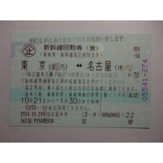 ジェイアール(JR)の新幹線回数券1枚(東京~名古屋)(鉄道乗車券)