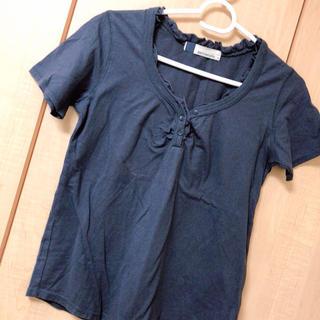 ネイビーナチュラル(navy natural)の夏服 ネイビー Tシャツ フリルシャツ(Tシャツ(半袖/袖なし))