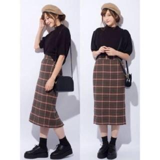 ジーユー(GU)のgu チェックナローミディスカート ブラウン(ひざ丈スカート)