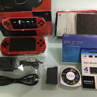 プレイステーションポータブル(PlayStation Portable)の美品 PSP-3000 レッド/ブラック(携帯用ゲーム本体)
