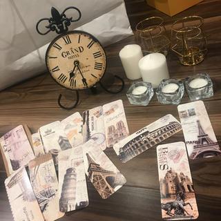 イケア(IKEA)のウェルカムスペースセット売り☆PARISアンティーク時計IKEAキャンドルなど☆(ウェルカムボード)