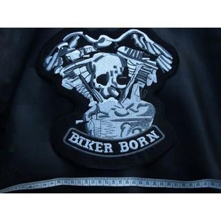 ハーレーダビッドソン(Harley Davidson)の大きいワッペン★スカル&ハーレーエンジン・ウイング★バイカーとして生まれた(パーツ)
