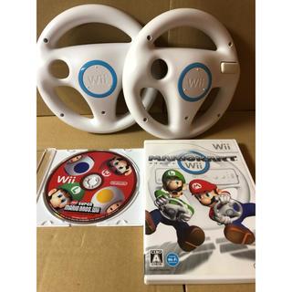 ウィー(Wii)のマリオカートWii ニュースーパーマリオブラザーズ  ハンドル2個 セット a(家庭用ゲームソフト)