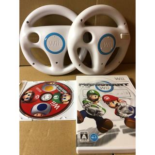 ウィー(Wii)のマリオカートWii ニュースーパーマリオブラザーズ  ハンドル2個 セット c(家庭用ゲームソフト)