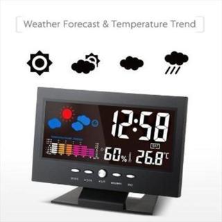 カラーディスプレイ デジタル温度湿度計 LCD温度湿度計 (置時計)