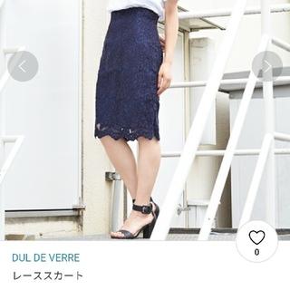 ノーブル(Noble)の☆超美品☆DUL DE VERRE レーススカート ネイビー(ひざ丈スカート)