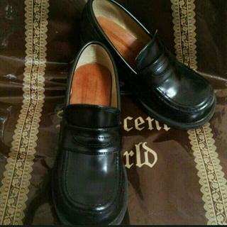 王子系*おでこ靴ローファー(黒)(ローファー/革靴)