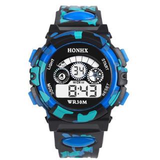 日本語説明付き☆新品送料込みHONHX 迷彩ブルーキッズ子供用アウトドア腕時計(腕時計)