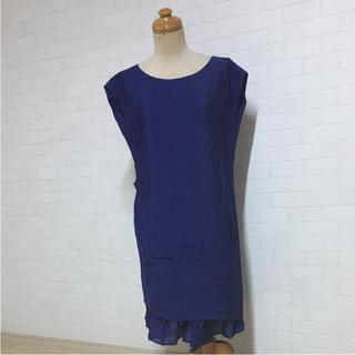 セタイチロウ(seta ichiro)のsetaichiro  ブルー系 袖なし ワンピース 40(ひざ丈ワンピース)
