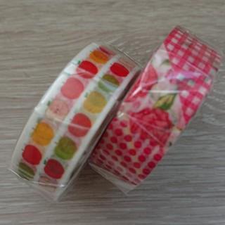 エムティー(mt)のmtex◎アップル&フラワー赤Rマスキングテープ!(テープ/マスキングテープ)