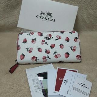 コーチ(COACH)のCOACH財布 長財布 F23498 チョークマルチ コーチ フルーツ プリント(財布)