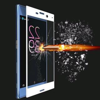 Xperia xz xzs ホワイト 3D 曲面 全画面 強化ガラスフィルム(Androidケース)