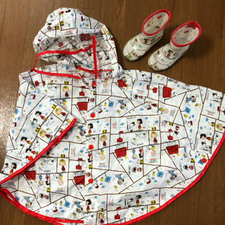 スヌーピー(SNOOPY)のスヌーピーレインポンチョ&長靴セット(レインコート)