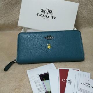 コーチ(COACH)のCOACHコラボスヌーピリファインペブルドレザー16122長財布  (財布)