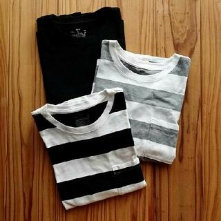 MUJI (無印良品) - 【美品】無印良品 Tシャツ 3点セット M-Lサイズ ボーダー カジュアル