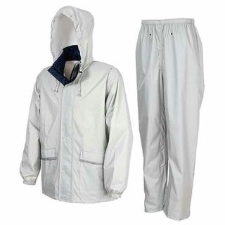 軽量・透湿 レインスーツ LLサイズ シルバー カッパ 上下 レインコート(レインコート)