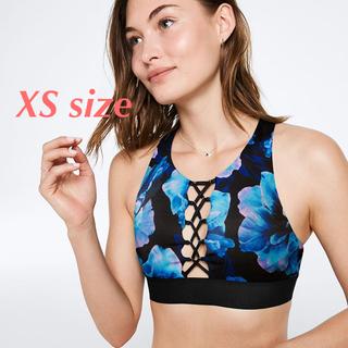 ヴィクトリアズシークレット(Victoria's Secret)の新品 ヴィクトリアシークレット 花柄 スポブラ 黒 青 PINK XS クロス(ヨガ)