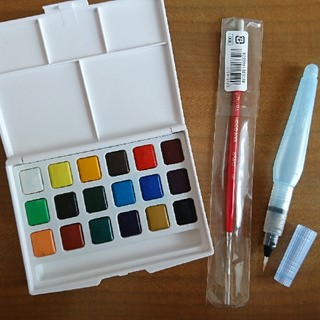 固形水彩絵の具と筆セット(絵の具/ポスターカラー )