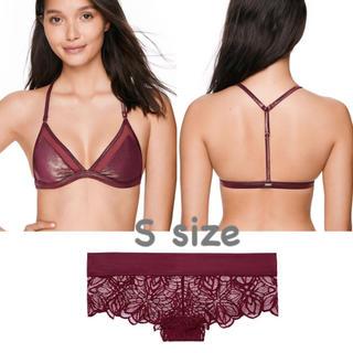 ヴィクトリアズシークレット(Victoria's Secret)の新品 ヴィクトリアシークレット PINK ブラレット パンティー S ボルドー(ブラ&ショーツセット)