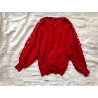 アンゴラ混 かぎ編みとストーンのニット(ニット/セーター)